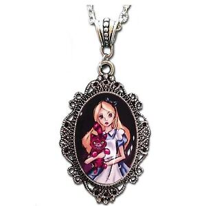 Womens-Alice-In-Wonderland-Cheshire-Cat-Cameo-Necklace-Costume-Jewelry-Accessory