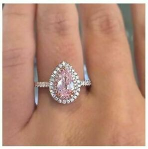 925 Sterling Silver Round Cut Pink Sapphire Engagement Wedding Ring 14k Rose Gold Finish