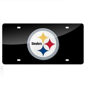 Pittsburgh-Steelers-Black-Mirrored-Laser-Cut-License-Plate-Laser-Tag