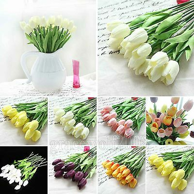 Real Latex Artificial Tulip Flower Bouquet Wedding Home Decor Multicolour 6-12pc