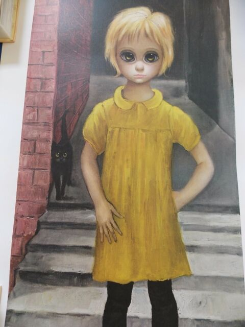 """Rare Walter Keane BIG EYES vintage LARGE 18 1/4"""" X 34""""  Lithograph """"The WAIFS"""""""