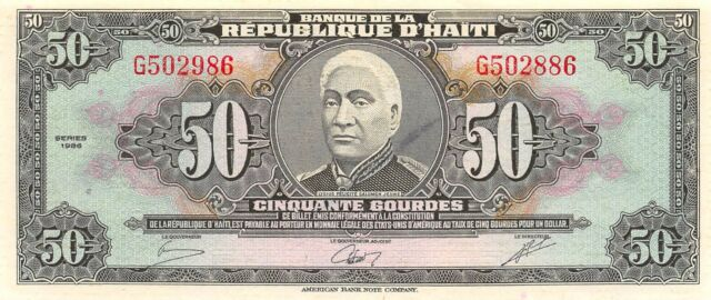 Haiti  50  Gourdes  1986  P 245  Series G  Uncirculated Banknote NY1117