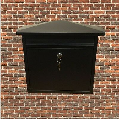 Matt Black Lockable Mailbox/Postbox Outdoor Home Wall Mail/Post/Letter Box Large