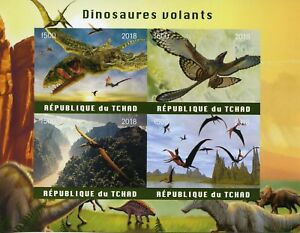 Chad-2018-MNH-Flying-Dinosaurs-4v-Impf-M-S-Dinosaur-Stamps