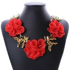 ANTHROPOLOGIE GORGEOUS RED FLOWERS STATEMENT NECKLACE - NEW
