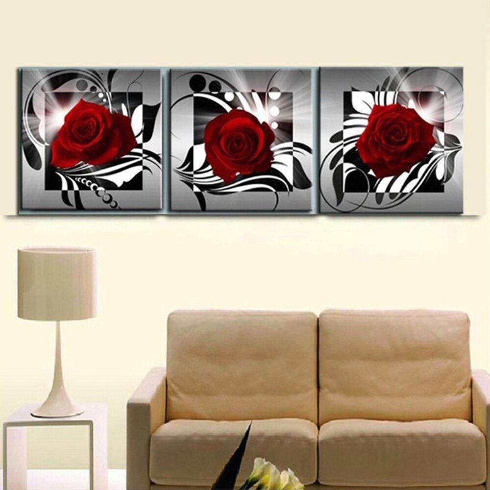 EP_ 3Pcs/Set Red Rose Flower Wall Art Painting Living Room Bedroom Decor Strikin