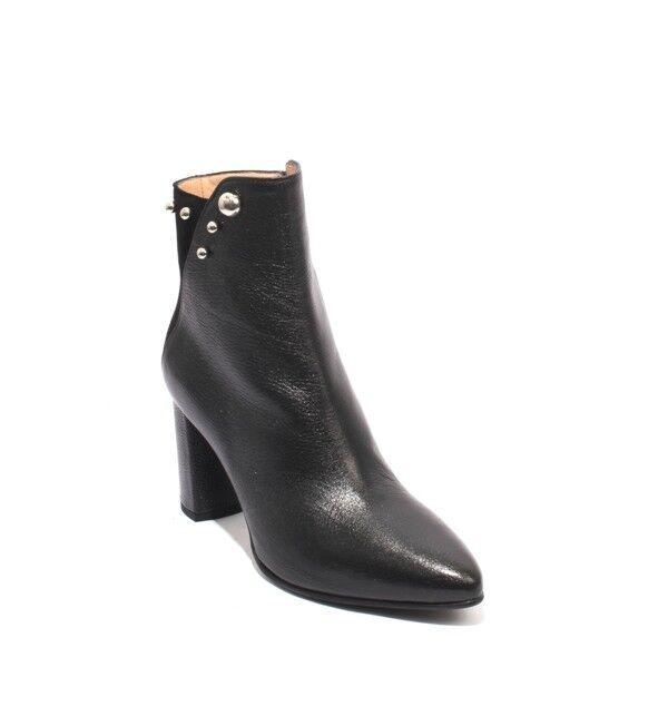 Mot-CLe 691 Negro Negro Negro Cuero Gamuza Pointy Zip-Up Heels Tobillo botas 38.5 US 8.5  despacho de tienda