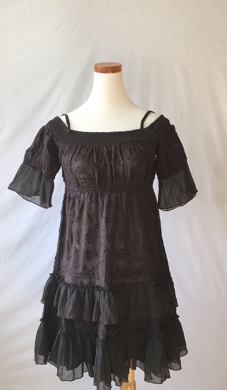 NEW Free People Brown Lace Tiered Dress  Size S 4-6