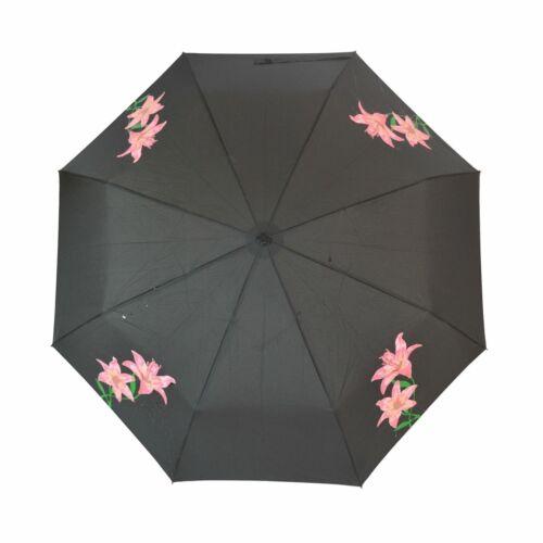Femme Rose Lily change couleur Pliable Parapluie Compact /& Manche Floral Cadeau