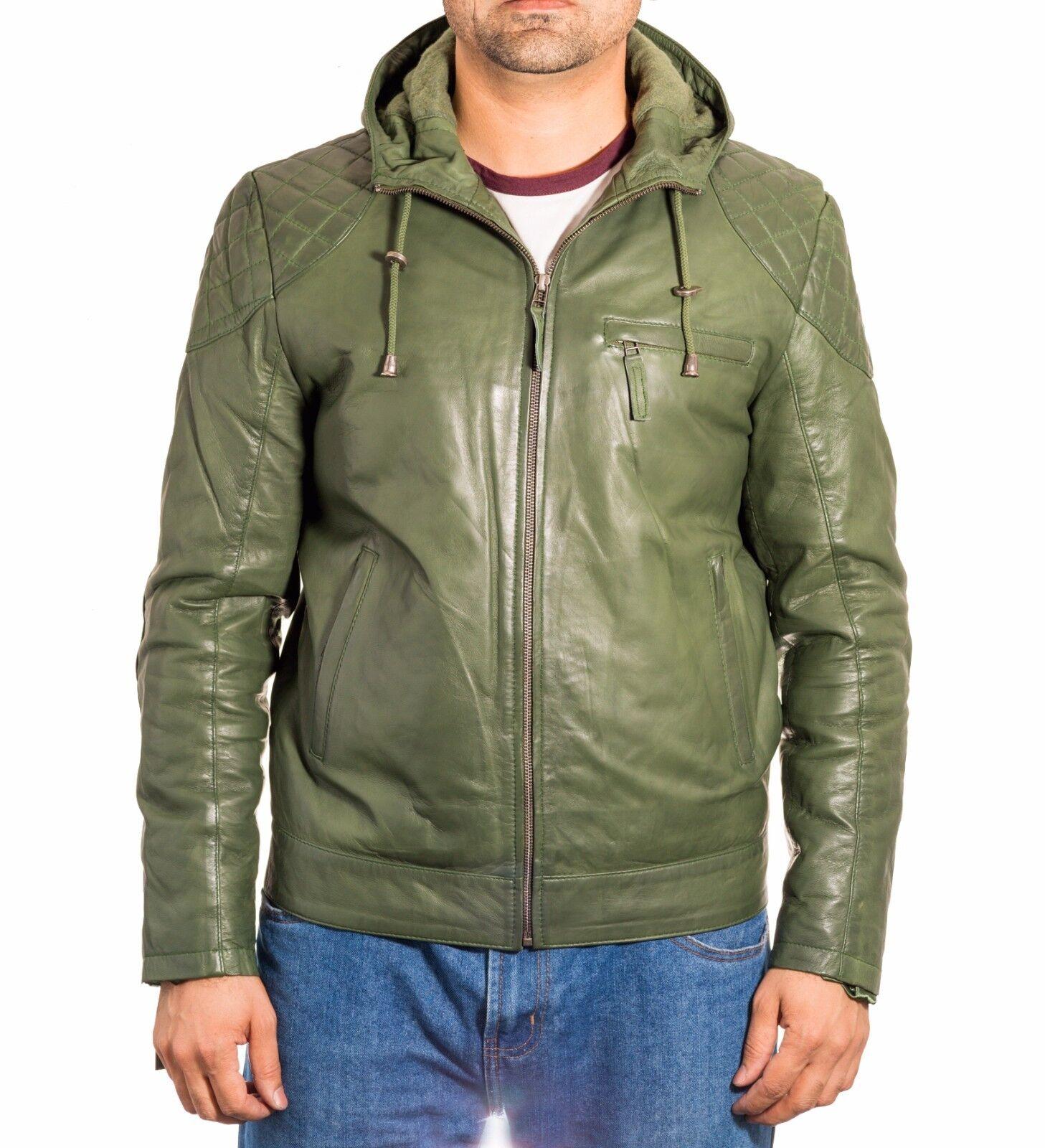 Uomo's Pelle verde Vera Pelle Uomo's Giacca con cappuccio Bomber con Cappuccio Trapuntato a tracolla dettaglio cdfe53