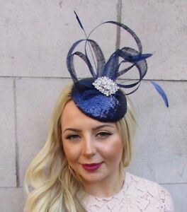 Image is loading Navy-Blue-Silver-Feather-Pillbox-Hat-Fascinator-Races- f92c38d7461