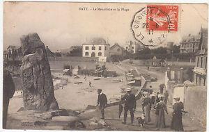 BATZ-CARTE-POSTALE-LE-MONOLITHE-ET-LA-PLAGE-EN-1911