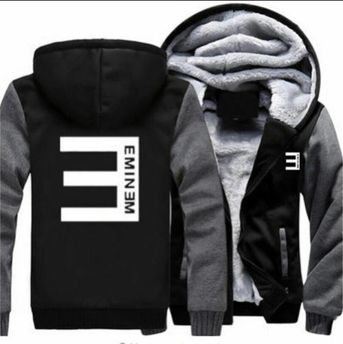 Fashion Mens Boys Thicken Jacket Eminem Sweatshirt Winter Hip hop Coat Hoodies