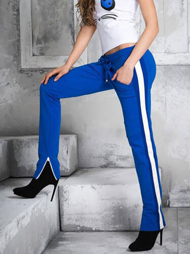 By alina mexton señora pantalones deportivos tubos pantalones trackpants jogpants azul XS-M