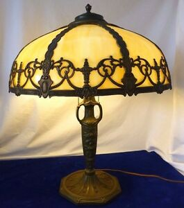 Details About Bronze 2 Socket Lamp W Amber Slag Gl Shade Attributed To Pittsburgh Co 1920s