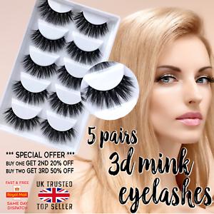 5-Pairs-3D-False-Eyelashes-Thick-Wispy-Cross-Long-Mink-Soft-Fake-Eye-Lashes