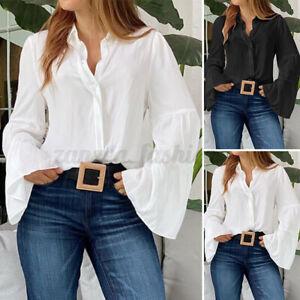 ZANZEA-Femme-Chemise-Boutons-Manches-a-volants-100-coton-Belle-Shirt-Tops