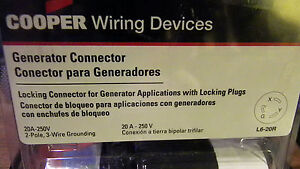 Cooper Wiring Devices Generator Connector 2-Pole, 3-Wire Grounding L620C-L
