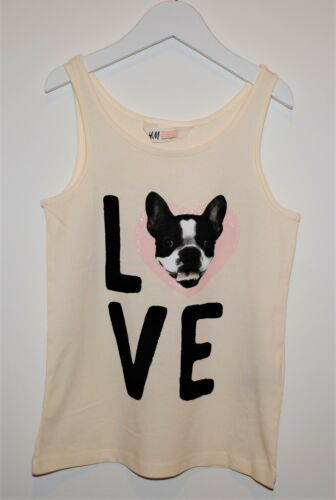 Girls Ex H/&M Vest Tank Top Doggy Love Print Ivory White Size Age 8 to 15 Years