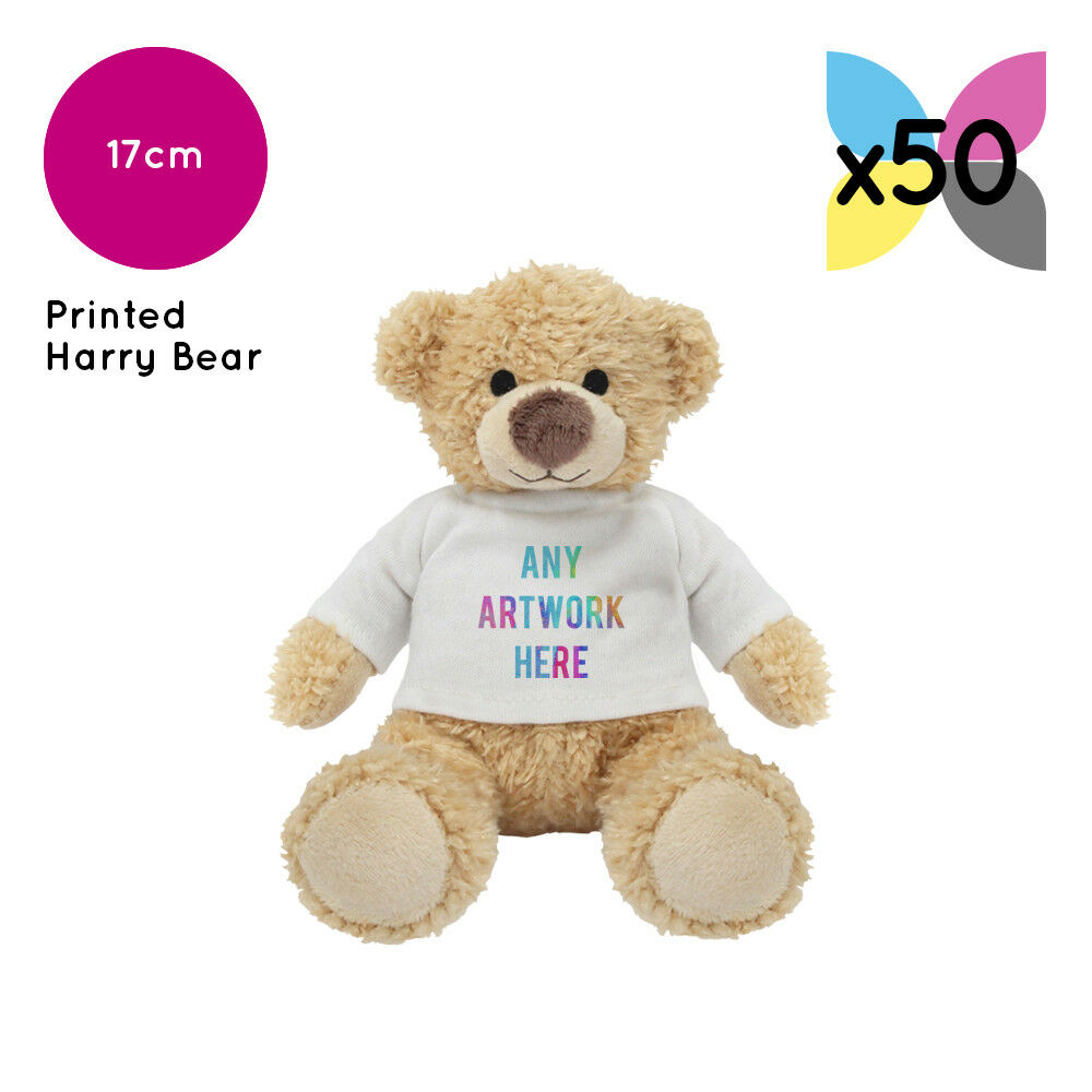 50 Personalised Harry Teddy Bears Promotional Logo Text Photo Printing Gift Bulk