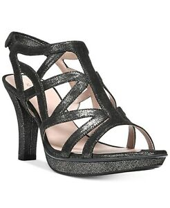 Naturalizer Women's Danya Dress Strappy Sandal Size 8.5M Black/Pewter, MSRP $79