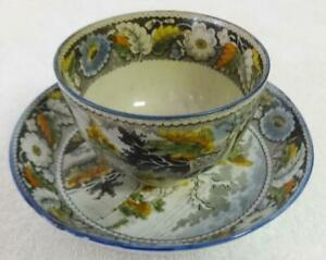 """Rare Antique Salopian Pearlware Cup & Saucer """"Stag"""" Pattern Ca.1810"""