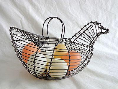 "CHICKEN BASKET FIGURINE with 8 Plastic Eggs 8.5"" Metal Wire Handle Hen"