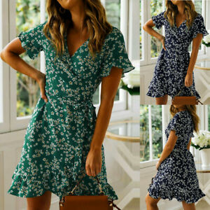 Womens-Floral-V-Neck-Holiday-Wrap-Dress-Ladies-Boho-Beach-Party-Mini-Sundress
