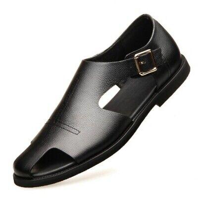 Summer Roman Men Open-toe Buckle Flat Casual Leather Beach Sandals Slippers shoe