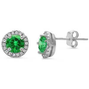 Emerald & White Sapphire Halo Stud Earrings in Solid Sterling Silver