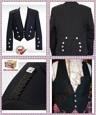 """Gelernt Prince Charlie Scottish Kilt Jacket & Vest Size 38"""" To 52"""", Scottish Kilt Jacket Und Verdauung Hilft"""