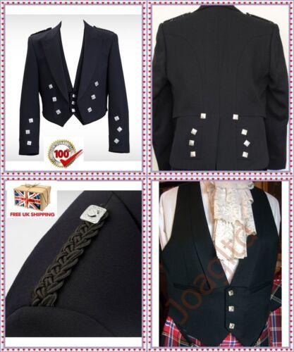 "Prince Charlie Scottish Kilt Jacket /& Vest size 38/"" To 52/"" Scottish Kilt jacket"