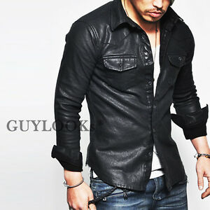 Masculine edge design stretchy mens black faux leather for Mens shirts with leather