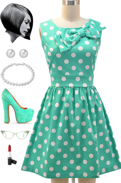 50s Style MINT & White POLKA DOT Pinup Dress with BOW Neckline Detail
