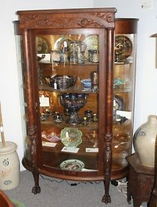 Image Is Loading Antique Oak China Or Curio Cabinet Lion Heads
