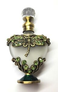 ae22554340da Details about Antiqued Brass Green Crystal Dragonfly Heart Frosted Glass  Perfume Bottle