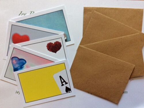 12 individual love themed blank cards /& envelopes ideal love notes//treasure hunt