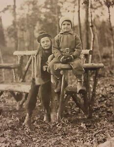 Vintage 1930s Photo of Little Girl & Boy Children Fall Fashion Long Island Woods