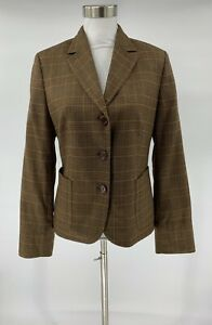 Faconnable-Womens-Blazer-Suit-Jacket-Brown-Plaid-Size-6-Wool-Blend-Lined-S7