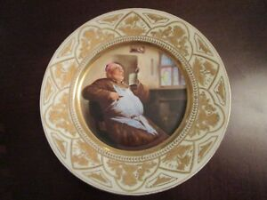 AUGUSTUS-REX-MEISSEN-PORTRAIT-PLATE-GOLD-HAND-PAINTED-SMOKING-AND-DRINKING-MONK
