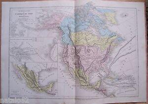 Détails Sur Gravure Belin Drioux Leroy 1879 Carte Physique Et Politique Amerique Du Nord