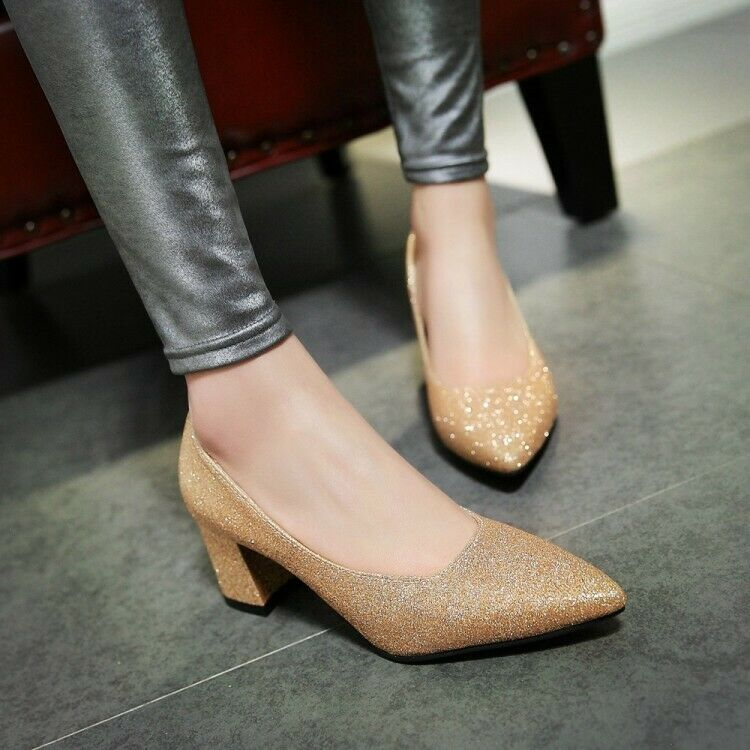 Ladies New Hot shoes Block Kitten Heels shoes Pointy Toe Slip On Casual shoes