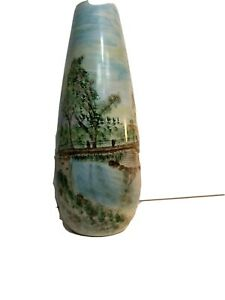 Art Vase. With Reflection Bridge And Trees. Hand Painted Ceramic. Vintage