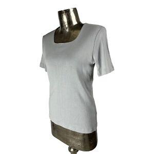 Emreco Cotton Grey Top T-Shirt Square Neck NEW UK M 12 (EU40) Women's RRP £22