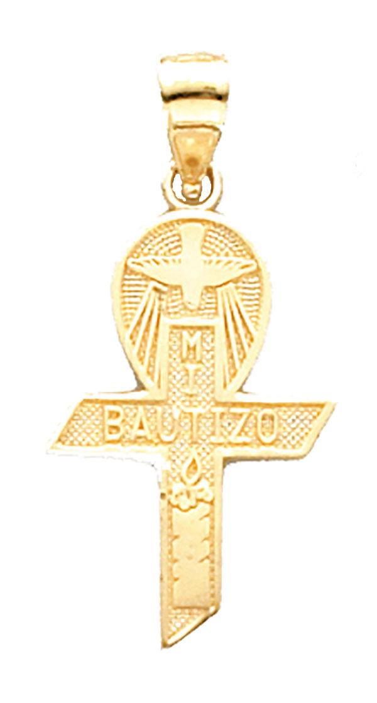 Mi Bautizo Croce - Battesimo Croce 14k 14k 14k Solido oro Giallo - mi Bautizo 14k oro a624a2