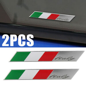 2X-Aluminum-Car-Auto-Italy-Flag-Italian-Emblem-Badge-Stickers-Fender-Decal-NEW