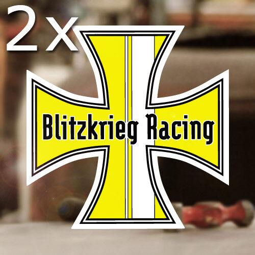 2x Stück Blitzkrieg Racing Iron Cross Sticker Aufkleber Käfer Bug gelb 120mm ✔