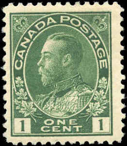 Canada-Mint-H-1911-F-Scott-104-1c-Admiral-King-George-V-Stamp-Issue
