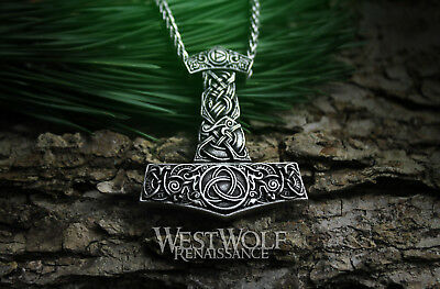 Knotted Vines and 24 Inch Chain NorseNecklaceNatureOdinSilverSteelSkyrim Viking Mjolnir Thor Hammer Pendant with Shield -