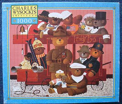 jigsaw puzzle 1000 pc Teddy Express Bear Train Charles Wysocki Americana © 2003